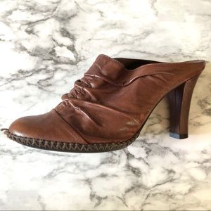 Brown leather mules/booties